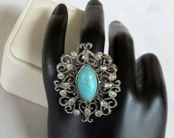 SALE Faux Turquoise & Rhinestones Ring Size 7 Adjustable Vintage Chunky