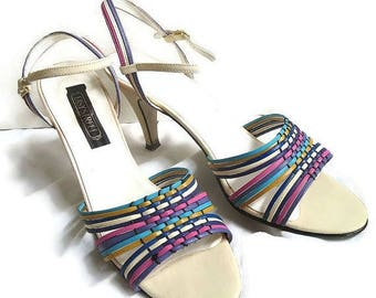 SALE Strappy Sandal Pump High Heel Shoes Vintage Woven in Pink, Blue, Purple, and Cream Size 8.5