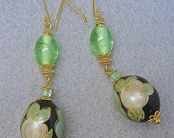Vintage Japanese Tensha Black Mint Green Bead Earrings Gold, Vintage Japanese Mint Green Glass Beads, Bali 24k Gold Vermeil Beads,Ear Wires