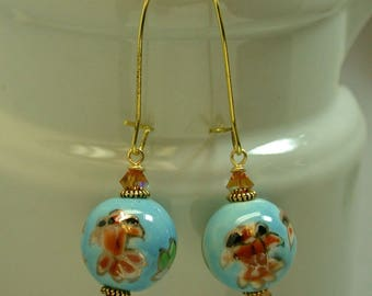 Vintage Koi Fish Aqua Blue Porcelain Bead Dangle Drop Earrings, Swarovski Topaz Crystal, Gold Ear Wires