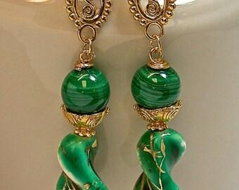 Vintage Japanese Glass White Green Gold Handmade Dangle Drop Bead Earrings,Vintage Malachite, Bali 24K Gold Bead Caps, Bali 24K Ear Wires