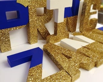 RESERVED 4 letters Prince letters royal crown royal glitter letters gold glitter crown glitter dipped letters king letters One letter