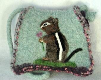 Felted Purse, Felted Handbag, Chipmunk Art, Wool Purse, Needle Felt Chipmunk, Fiber Art