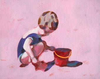 A girl with a red bucket- ORIGINAL PAINTING on canvas panel
