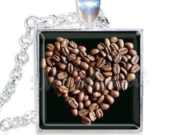 "20% OFF - Coffee Lovers Heart Full of Beans 1"" Square Glass Pendant or with Necklace - SQ163"