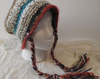 Striped Hat with Braided Ties
