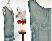 Vintage 1920s Dress - Sheer Slate Blue Grey Silk Chiffon Ultra Sheer 20s Dress with Bands of Clear Beading