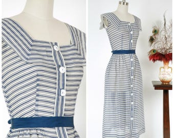 Vintage 1950s Dress - Stunning Sheer Navy Blue & White Textured Stripes 50s Day Dress with Portrait Collar