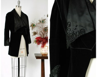 Vintage Edwardian Jacket - Early Teens 1910s Black Velveteen Jacket with Massive Silk Collar, Satin Soutache and Gorgeous Buttons