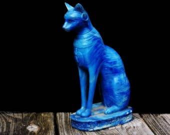 Large Vintage Bastet Egyptian Statue Lapis Lazuli Blue Color Finish Hand Crafted Bast Museum Replica Sculpture