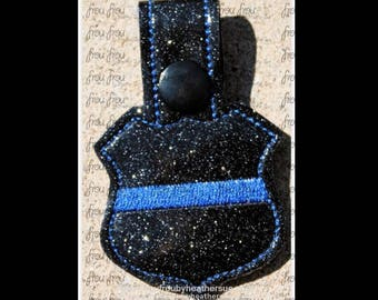 "Digital Embroidery Design Machine Key Fob Thin Blue Line Police Officer With Mister Mouse Head In The Hoop Project 4""-10"""