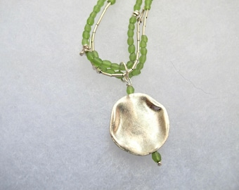 Handmade green ANCIENT ROMAN GLASS necklace/pendant,  with Hill tribe silver and liquid silver strand.