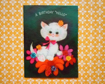 Vintage Green Birthday Greeting Card White Kitten with Pink Flowers