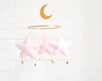 Blush pink star Baby mobile-mobile star-mobile-scandi decor-mobile-nursery decor-Millennial Pink, blush pink,blush, Tumblr Pink, Scandi Pink