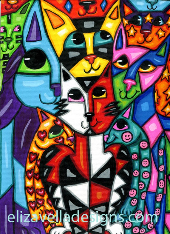 happy cats abstract art painting original modern animals acrylics hearts stars nursery living room home bedroom decor wall colorful