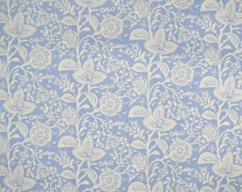 Tula Pink Parisville French Lace Mist, 10 x 44 inches, VHTF OOP fabric, destash rare fabric, blue flowers leaves, new, washed no shrinkage