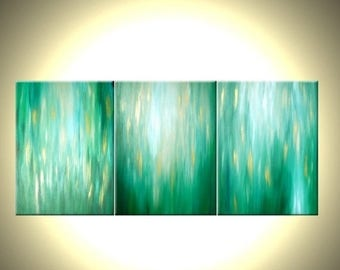 Green Abstract Art - Green White Water Painting - Original Gold Art - Abstract Contemporary Painting - Green Rain - Summer Rains - 20x48