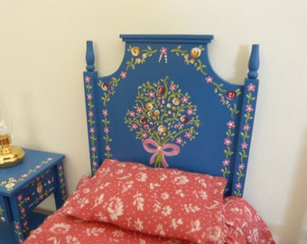 Dollhouse miniature  single bed in 12th scale Portuguese typical  hand painted furniture from Alentejo blue background with tiny flowers