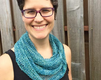 mermaid scarf, cowl,  hand knit, turquoise green blue, beaded