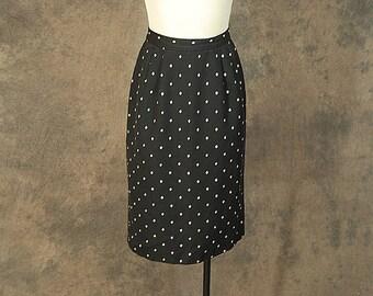 CLEARANCE SALE vintage 80s Pencil Skirt - 1980s High Waist Black and White Diamond Minimalist Skirt Sz XS