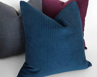 Blue Throw Pillow, Solid Blue Pillow Cover, Steel Blue Cushions, Corduroy Blue  Pillows, Textured, Slate Blue, Lodge Decor, 20x20