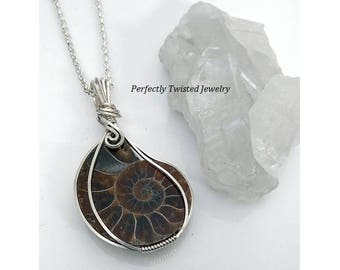 Ammonite Fossil Sterling Silver Wire Wrapped Pendant Necklace, Perfectly Twisted Jewelry, Handmade Wire Sterling Jewelry, Gifts for Her
