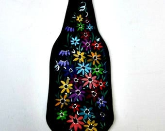 Spoon Rest, Kitchen Trivet,  Melted Amber  Bottle,  Hand Painted with Colorful Flowers,  Candle Holder, Glass Art, Recycled Glass