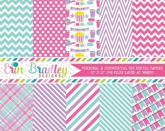 50% OFF SALE Girls Movie Party Digital Paper Pack in Pink Purple & Aqua Blue, Instant Download Commercial Use Digital Scrapbook Paper Graphi