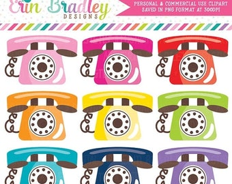 50% OFF SALE Telephone Clipart Graphics Phone Clip Art Personal & Commercial Use
