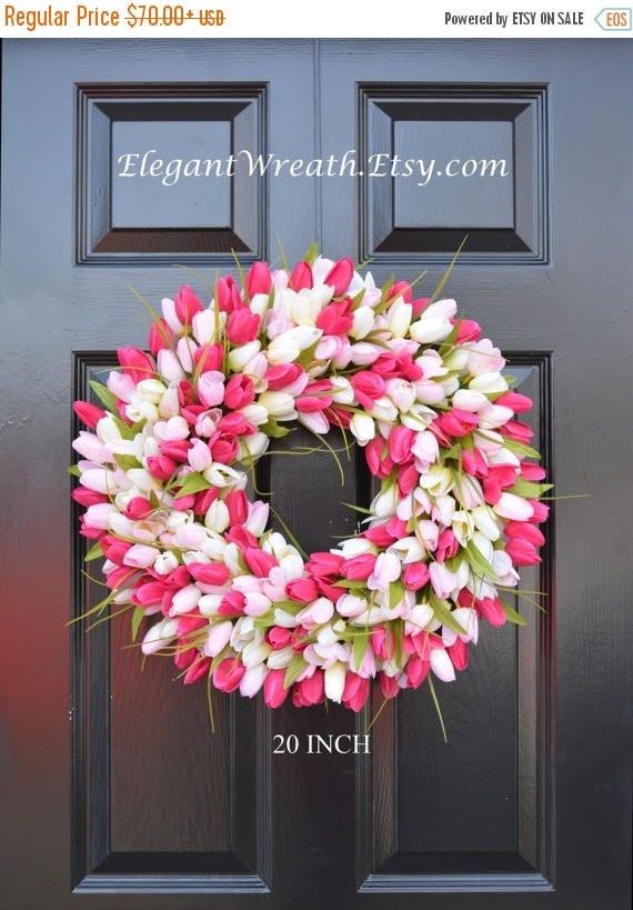 SUMMER WREATH SALE Tulips Spring Wreath- Spring Decor-Spring Tulips Wreath, Custom Colors and Sizes- Summer Wreath- The Original Tulip Wreat