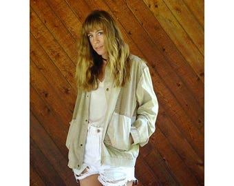 20% off SUMMER SALE. . . Oversized Cotton Panel Lightweight Jacket - Vintage 80s - L