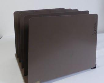 Vintage Dark Brown Steel Metal File Holder Desk Organizer File Organizer Desk Storage Organizer Paper Storage Organizer Photo Craft Display