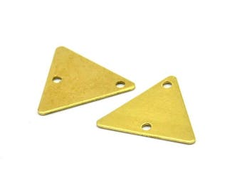 Triangle Necklace Charm, 250 Raw Brass Triangle Charms With 2 Holes (12x14mm) A0016