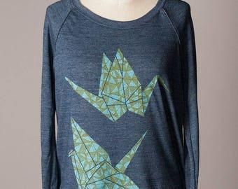 SUMMER SALE women's pullover sweatshirt, women's sweatshirt, paper cranes, origami design