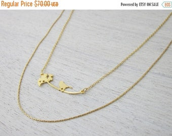On Sale 40% off, Bird and Dandelion Necklace in Gold- Small, holiday gift for her, woodland jewelry