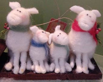 Ewe Family Felted Wool Ornament -NEW for 2017