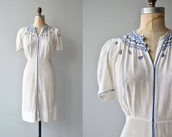 Kythria gauze dress | vintage 1930s embroidered dress | greek folk 30s dress