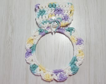 Large Towel Holder Crocheted Ring Lilac Yellow White Green Variegated