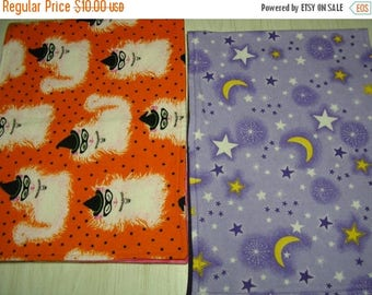 CLEARANCE SALE Burp Cloth Halloween Gift Set of 2 Flannel White Cats Stars Moons Larger Size