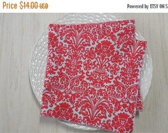 SALE Cloth Napkins Damask Red on Light Blue Set of 4