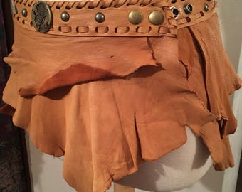 Leather, ragged, scrappy. Tattered, Tribal, festival , Burning Man, wrap skirt