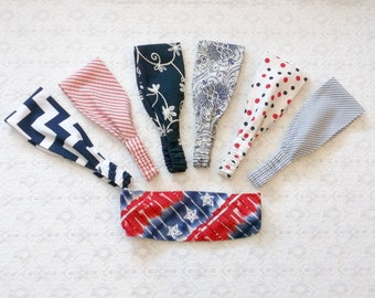 All American Red White Blue Wide Wrap Headband in 7 Prints