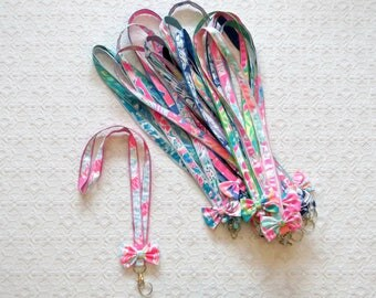 Preppy Lilly Pulitzer Fabric Lanyard with Bow Trim in Many Prints