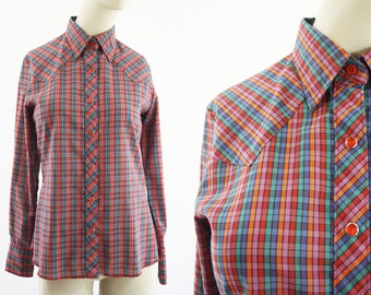 Wrangler Collection Vintage Red Plaid Cotton Woman's Button Down Ranch Blouse