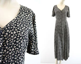Vintage Anegada's Collection 90's Floral Print Flutter Sleeve Button Front Tie Back Woman's Grunge Retro Maxi Dress