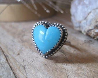 Kingman Turquoise Heart Ring, Statement Ring, Gift for Her, Cocktail Ring, Sterling Silver Ring, Fall Fashion, Southwestern Ring, Boho RIng