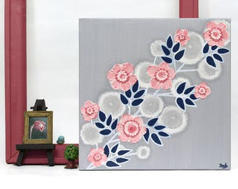 Wall Art Canvas Painting, Textured Acrylic Flower Painting in Gray Pink and Blue, Small Gift for Girl - 10x10