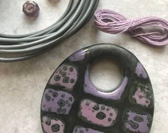 Big BOLD purple pendant mix, shades of purple textured pendant, Handcrafted Beads, Ceramic Beads, Pendant, Pendants, Art Bead,