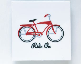bicycle magnet, bike magnet, bike art, bike gift, red bike, gifts under 10, magnet, made in buffalo ny