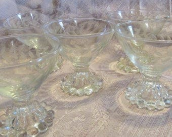 Set of 5 Depression Glass Boopie Glass Sherbet Berry Glasses Etched Wheat Pattern Mid Century Vintage Wedding Berwick Beaded Edge Candlewick
